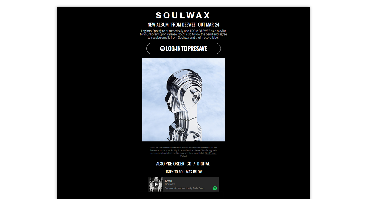 Soulwax Presave for Spotify